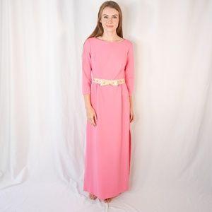 VINTAGE Bubble Gum Pink Bow Maxi Dress 60s Dress S